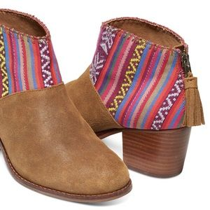 TOMS Leila Toffee Suede Booties Ankle Boot  7.5